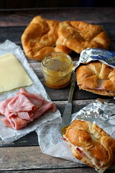 Genius Make-Ahead Camping Meals, From Philly Cheesesteak to French Toast Sadly, eating s'mores all weekend isn't really an option. - A homemade sauce sweetens up these ham and cheese croissants. They're perfect for breakfast, lunch, or dinner. Camping Food Make Ahead, Camping Hacks, Family Camping, Camping Cooking, Camping Checklist, Camping Gear, Camping Supplies, Backpacking Meals, Camping Dishes