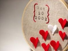 Embroidery hoop wedding date with hearts