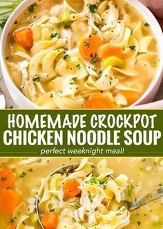 this Crockpot Homemade Crockpot Chicken Noodle Soup is so yumm! Just CLICK THE… this Crockpot Homemade Crockpot Chicken Noodle Soup Crock Pot Recipes, Crockpot Dishes, Healthy Soup Recipes, Crock Pot Cooking, Slow Cooker Recipes, Crockpot Chicken Noodle Soup, Cooking Pork, Easy Crockpot Soup, Homemade Chicken Soup