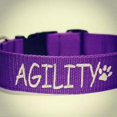 Obojek Blackberry s vyšitím   Collar with embroidery by Blackberry #agility #collar #purple #paws #dog #obojek #fialova #handmade