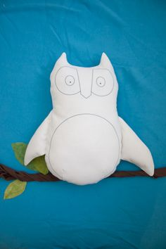 """Owl """"Blank Canvas"""" Softie--Your child can color and decorate this owl with fabric markers. I love to watch my kids create!"""