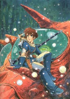 Hayeo Miyazaki, A Japanese Animator. His films and graphic novels are truly beautiful. This picture is from Nausicaa and the valley of the wind. Hayao Miyazaki, Comics Illustration, Illustrations, Totoro, Nausicaa, Studio Ghibli Art, Art Vintage, Ghibli Movies, Anime Films