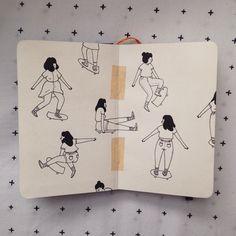 Creative Illustration, Madfuture, and Girls image ideas & inspiration on Designspiration Sketchbook Inspiration, Art Journal Inspiration, Art Inspo, Art Sketches, Art Drawings, Bel Art, Arte Sketchbook, Art Et Illustration, Art Hoe