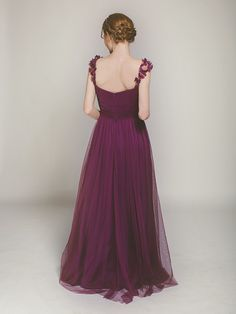 soft tulle long aubergine bridesmaid gown swbd001