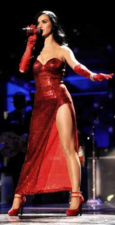 Katy Perry ♥ red dress looks good on any woman (real life jessica rabbit?)