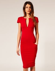 Sexy Pencil Dress with Pockets -- love the structure