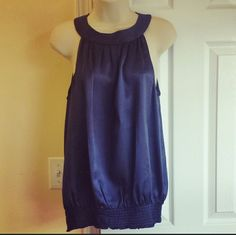 "Michael Kors Top Midnight Blue 100% Silk Size 8. Zipper in the back, flowy, comfy, bottom stretch. 26 "" Long 20"" armpit to armpit measured flat  Like new condition. Michael Kors Tops Blouses"