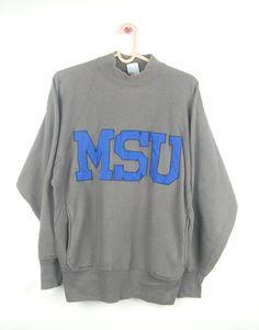 8ce49c5c6a1a Items similar to Vintage 90s Champion Reverse Weave MSU Big Logo CrewNeck  Sweatshirt   Champion   Adult   L Size on Etsy