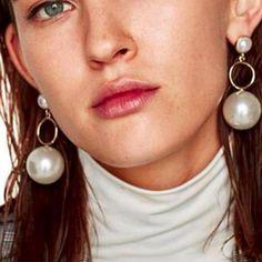 Fashion Simulated Big Pearl Boho Style Earrings