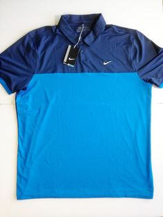 81caa9baf0a0d Details about Nike Golf Polo Shirt Dri Fit Navy   Light Blue NEW WITH TAGS  -  75 - XL