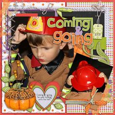 Jonah was SO stinking cute in his little fireman outfit!  For some reason, he held onto his hat a lot!!   I used these Buffet kits from Gingerscraps: Seatrout Scraps potpourri template: http://store.gingerscraps.net/Potpourri-Templates-by-Seatrout-Scraps.html  LRT Her Blocks kit: http://store.gingerscraps.net/Her-Blocks-CT-Bundle.html Kathry Estry Autumn Dance kit and stamps: http://store.gingerscraps.net/Autumn-Dance.html and http://store.gingerscraps.net/Autumn-Dance-Frames.html