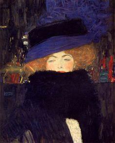 Gustav Klimt Şapkalı ve Tüylü Fularlı Hanımefendi / Lady with Hat and Feather Boa 1909. Tuval üzerine yağlıboya. 69 x 55 cm. The Österreichische Galerie Belvedere, Viyana.