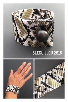 Manchette tissage peyote miyuki 10 effet python SLeGuillou 2015