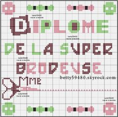 brodeuse - embroiderer - diplome - point de croix - cross stitch - Blog : http://broderiemimie44.canalblog.com/