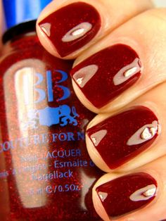 "BB Couture Napa Valley Red.  A particularly gorgeous take on the ""red glitter in red jelly"" polishes."