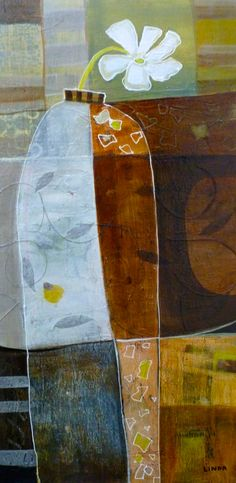 "The Lonely Flower 36"" x 18"" Acrylic Collage"
