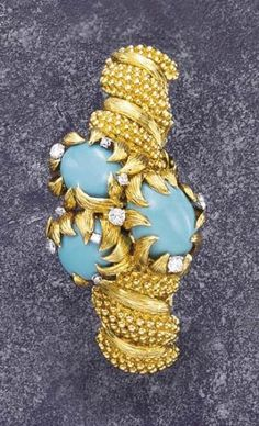 P, David Webb, A Gold Turquoise and Diamond Bracelet