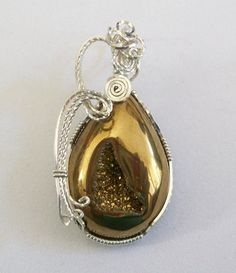 Gold colored Natural Agate Titanium Druzy Wire by JoaniesCreations, $50.00