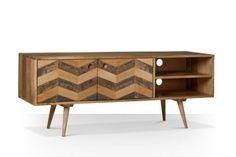Swoon Editions Media unit, Mid-century style in Mango wood - £249 Dimensions: W: 130 cm D: 40 cm H: 50 cm Shelves (inside): W: 45 cm D: 37 cm H: 12.5 cm Cupboard (inside): W: 80 cm D: 37 cm H: 25 cm