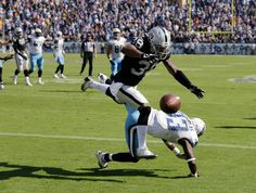 Tennessee Titans wide receiver Harry Douglas (83) falls and can't catch the pass as he is defended by Oakland Raiders strong safety T.J. Carrie (38) in the end zone on the Titans' last play of the fourth quarter in an NFL football game Sunday, Sept. 25, 2016, in Nashville, Tenn. The play gave control of the ball to the Raiders, who won 17-10. (AP Photo/James Kenney)