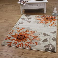 Beige Floral Orange Rug with Free UK Delivery & best prices online Guaranteed. Huge choice of quality styles, designs in stock at Land of Rugs. Trendy Colors, Vivid Colors, Modern Rugs, Modern Contemporary, Orange Rugs, Home Decor Inspiration, Room Decor, Beige, Flooring