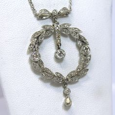 Edwardian 18kt and Platinum 1.55TCW Diamond Necklace from asemetals on Ruby Lane