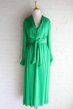 1970s Oscar de la Renta Green Gown XS-S  70s by RetroActiveNOLA