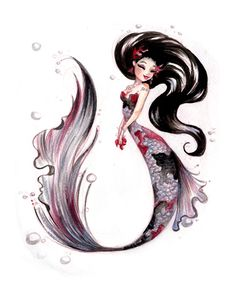♥ The Art of Liana Hee ♥: VERSUS: A Show of Opposites - Unique Koi Mermaid watercolor paintings. Best mermaid I've seen yet. Mermaid Drawings, Mermaid Tattoos, Mermaid Art, Art Drawings, Drawings Of Mermaids, Mermaid Pinup, Anime Mermaid, Mermaid Scales, Tattoo Drawings
