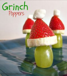 Grinch Poppers are perfect for Christmas morning or a How the Grinch Stole Christmas party.  This healthy treat is easy to make and the kids love it!