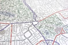 A map of London created entirely with typography. This is kind of a wet dream right here. London Map, Wet Dreams, Oh The Places You'll Go, Typography, Illustration, Image, Design, Graphics, Memories