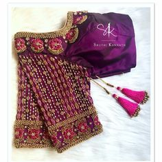 Stunning purple color designer blouse with hand embroidery bead work on neckline and sleeves. Blouse Back Neck Designs, Cutwork Blouse Designs, Hand Work Blouse Design, Pattu Saree Blouse Designs, Stylish Blouse Design, Fancy Blouse Designs, Bridal Blouse Designs, Sari Blouse, Aari Work Blouse