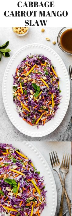 Looking for healthy salad recipes? Try this vegan salad, Crunchy Asian Slaw, made of shredded red cabbage, green cabbage, fresh mango, carrots, cilantro, mint, a drizzle of tamarind sauce and roasted unsalted peanuts on top. It's rich in antioxidants, has very low calories, high in fiber and offers a lot of vitamins and minerals for your overall health and to help prevent cancer and heart disease. The rich amount of Vitamin C and beta-carotene in cabbage, mango, and carrots can keep the…