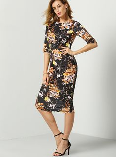 Give your office wardrobe a dainty touch with this black floral print dress. It comes with a classic wide round neck, and elbow length sleeves, then its fitted bodice and cinched waist emphasizes your natural curves.
