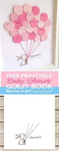 Adorable FREE bunny guest book printable! You can customize the name- this is SO precious! What a great idea to give the mama-to-be and have out at a baby shower! There are even more free printables to go along! Click on this site!