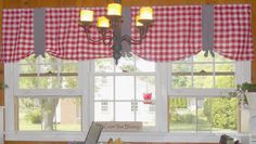 My kitchen windows needed curtains badly, even though they have blinds. As much as I love those blinds, they're white which is fine but. Cute Curtains, Valance Curtains, Red Kitchen Curtains, Indoor Garden, Bungalow, Blinds, Windows, Simple, Modern