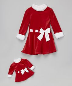 Another great find on #zulily! Red Santa Dress & Doll Dress - Toddler & Girls by Dollie & Me #zulilyfinds