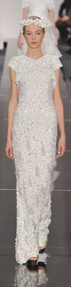 Chanel ~ Haute Couture Embellish White Full Length Gown 2015