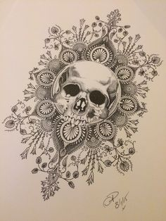 Dotwork tattoo design skull and mandala done by Natasha Papadakos @ living art collective