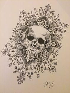 Dotwork tattoo design skull and mandala done by Natasha Papadakos @ living art collective