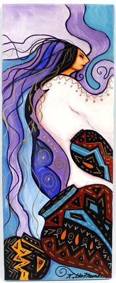 Original Acrylic Painting Chepi  by Kathy Kills Thunder  kp