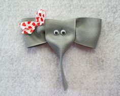 Elephant Hair Bow Made with Grosgrain Ribbon - Ahhh We LOVE This!