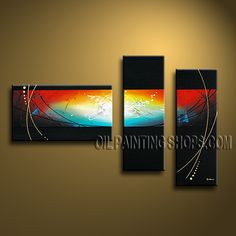 Large Modern Abstract Painting Oil Painting On Canvas Panels Gallery Stretched Abstract. This 3 panels canvas wall art is hand painted by Bo Yi Art Studio, instock - $147. To see more, visit OilPaintingShops.com