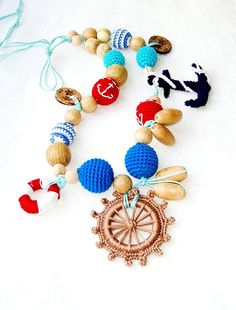 Marine crochet necklace  Teething necklace  by MiracleFromThreads, $45.00
