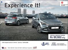 IMC - Experience It ! Hyundai i20: Special deposit offer of Rs 89,900 only. Tel: 286 9255 / 244 3333
