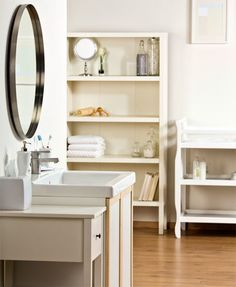 8 Popular DIY Home Improvement Projects for Renters Freestanding Bathroom Storage, Open Bathroom, Bathroom Shelves, Bathroom Organization, Bathroom Ideas, Small Bathrooms, Natural Bathroom, Simple Bathroom, Standing Shelves