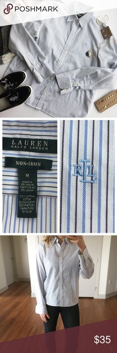 "- RALPH LAUREN - Striped Non-iron Button Down Classic 100% cotton button down with navy & blue stripes. Wear with a cardigan and booties for the perfect winter layered look or dress up with a pencil skirt & heels! Excellent pre-loved condition, no flaws. True to size. Approx. Measurements  Bust: 20"" Length: 24"" 🛍Bundle & Save 20% on 2+ items! 🙅🏼No trades / selling off of Posh.  ✨Offers always welcome!✨ Lauren Ralph Lauren Tops Button Down Shirts"