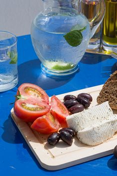 Greek Snack of Anthotyro Cheese, Olives, Tomatoes & Village Bread
