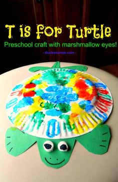 Fun T is for Turtle preschool paper plate craft with 3-D marshmallow eyes #preschool #preschoolcrafts #kidscrafts #turtles