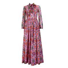 VINTAGE-70s-GRANNY-Pink-Floral-PUSSY-BOW-Chiffon-MAXI-DRESS-Long-Sleeve-XXS-XS