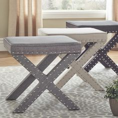 Beauty room chair Parton Linen Fabric X-Base Nailhead 17 Inch Ottoman Bench by INSPIRE Q